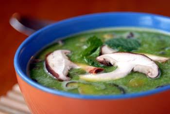 Pea Soup wih Shiitake Mushrooms
