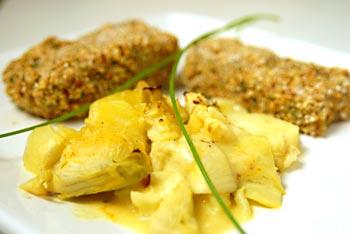Artichoke-Potato Gratin with Tofu Pecan cutlets