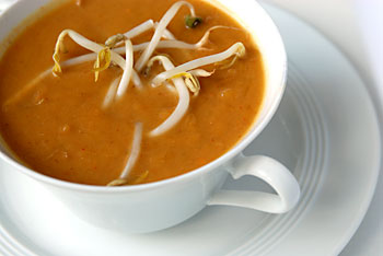 Easy Vegan Spicy Peanut Soup with Fresh Mung Bean Sprouts