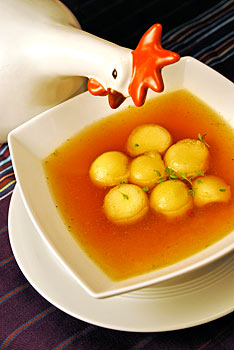 Vegetable Consume with Melon balls in Port