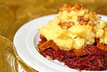 Mashed Potatoes on Red Cabbage and Smoked Tofu Casserole