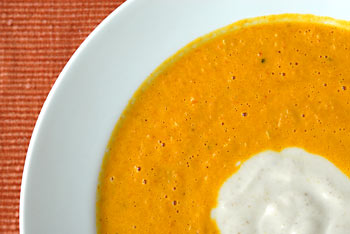Roasted carrot & ginger soup with lemon yogurt