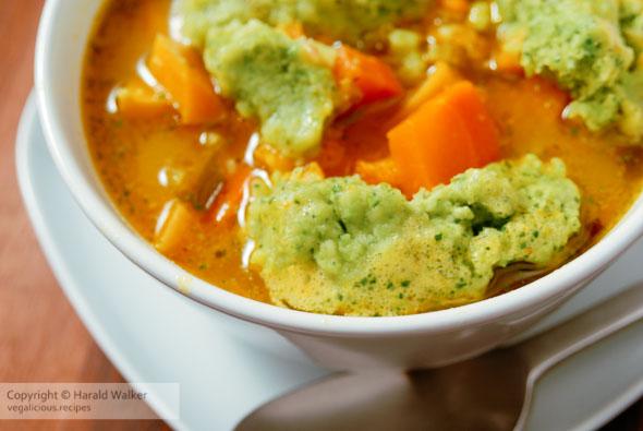 Beta carotene soup with green pea dumplings