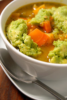 Beta carotene soup with green pea dumplings