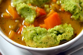 Beta carotene soup with green pea dumplings « Vegalicious Recipes