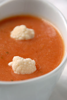 Coral cauliflower soup