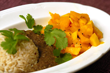 Indian Pumpkin Dish with Rice and Lentil Puree