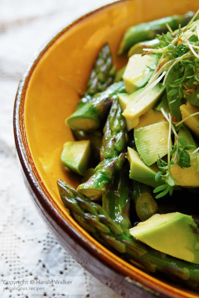 Warm asparagus and avocado salad