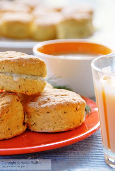 Dill scones with horseradish soy yogurt