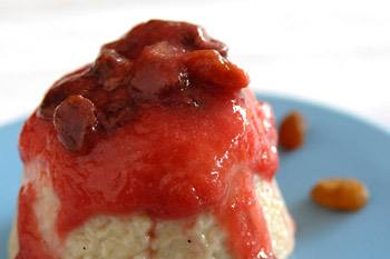 Rice pudding with rhubarb raisin sauce