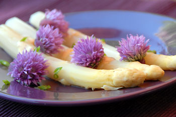 White asparagus with sweet mustard sauce and chive blossoms