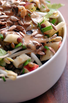 Lentil and bean sprout salad