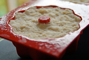 Coconut rice pudding with raspberry sauce