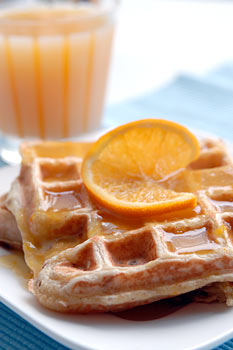 Orange waffles with orange sauce