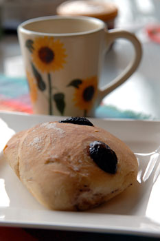 Black olive focaccia rolls