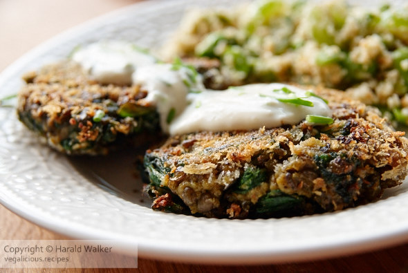 Spinach and lentil patties