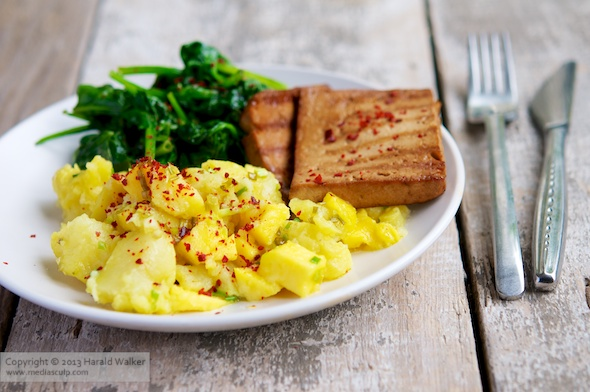 Grilled tofu with mango and chilli crushed potatoes