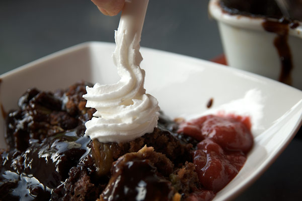 Chocolate and rhubarb self-saucing pudding cake