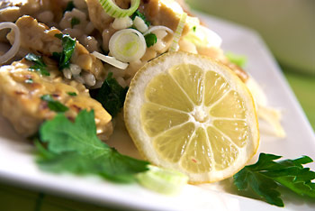 Lemon risotto with tempeh