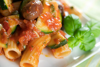 Penne in a Spicy Sauce with Capers and Olives