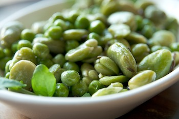 Sauteed favas and peas