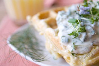 Savory waffles with herbed sauce