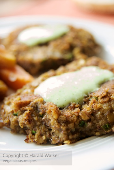 Lentil and hazelnut burgers with mint soy yogurt sauce