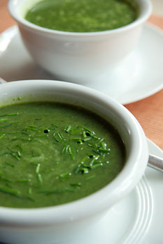 Spinach and Fennel Soup with Soy Yoghurt and Chives