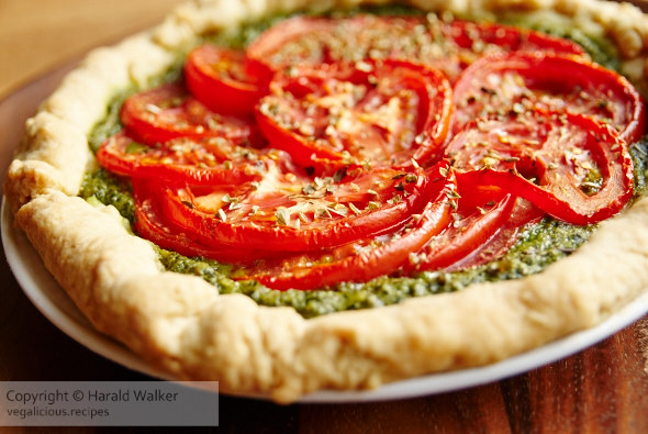 Sumer tomato crostata with kale pesto