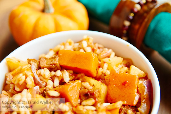 Pumpkin and Apple Risotto with Tofu Pieces