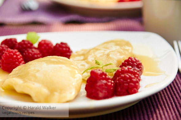 Apple Pierogi with Caramel and Macerated Raspberries