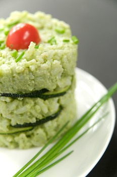 Zucchini and Pesto Rice Timbale