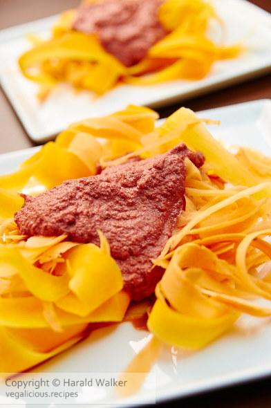 Pumpkin Tagliatelle with Beet Alfredo Sauce