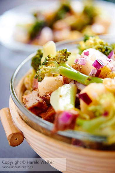 Broccoli Salad with Spicy Tofu, Raisins and Water Chestnuts
