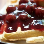 Belgian Waffles with Cherry Sauce and Vegan Cream Cheese