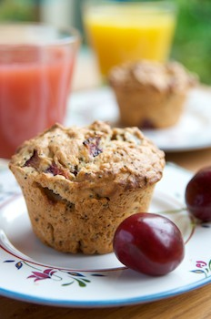 Fresh Cherry Poppyseed Muffins