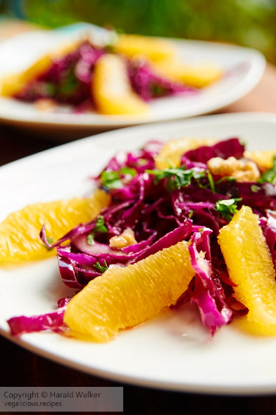 Marinated red cabbage and walnut salad