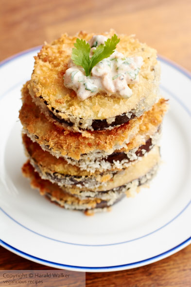 Breaded Eggplant with Spicy Walnut Yogurt Sauce