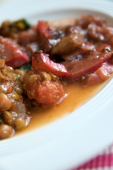 Spicy Lentil and Spinach with Rhubarb Chutney