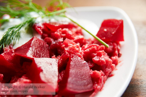Beet Risotto with Horseradish and Dill Soy Yogurt