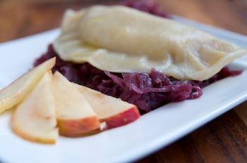 Parsnip Pierogi with Red Cabbage and Sauted Apples