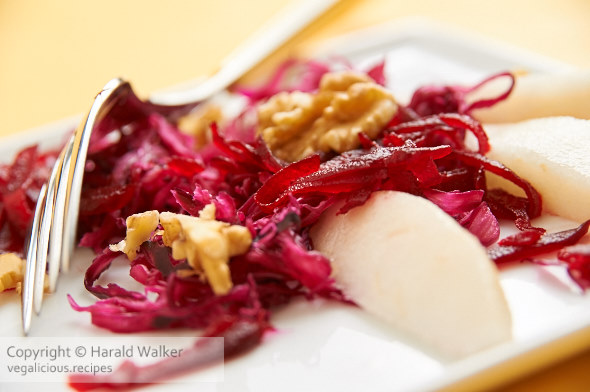 Red Cabbage and Beet Salad With Pears and Walnuts