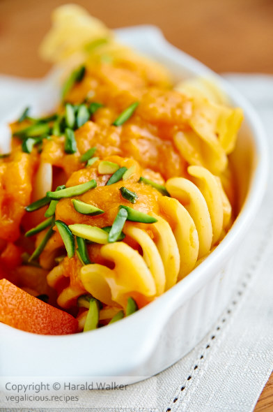 Pasta with Pumpkin Sauce and Pistachios
