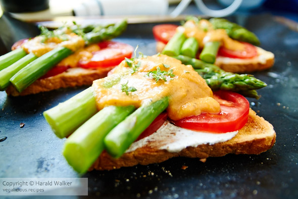 Making open-faced Toasted Asparagus Sandwiches