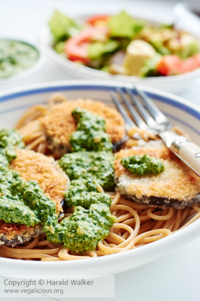 Breaded Eggplant with Spinach Pesto