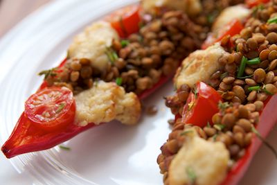 Lentil Stuffed Romano Peppers with Vegan Cheese Sauce