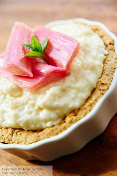 Creamy Coconut Almond Tart with Rhubarb