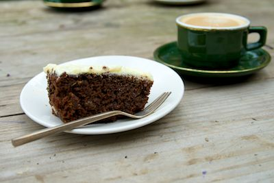 Applesauce Spice Cake with Lemon Frosting