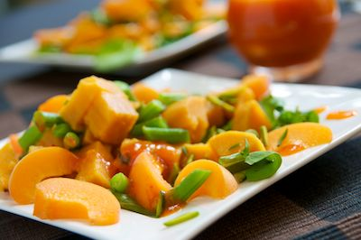 Sweet Potato Apricot Salad with Green Beans and Pistachios