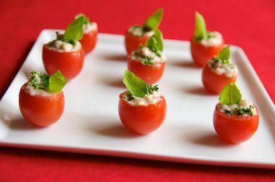 Vegan Cream Cheese filled Cherry Tomatoes